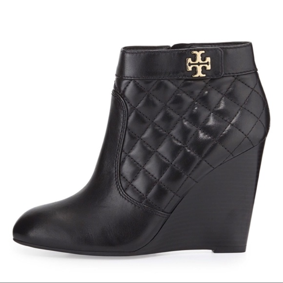 11f500feba0a Tory Burch Leila Quilted Leather Wedge Booties. M 5ade52642ab8c5eec6a0cdc1